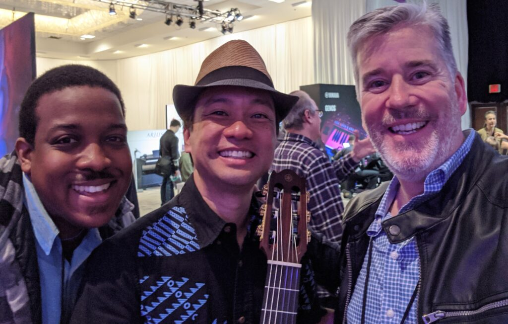 NAMM 2020 YAMAHA Artist Daniel Ho with Garden District Band members Jordan Baker and David W. Hansen