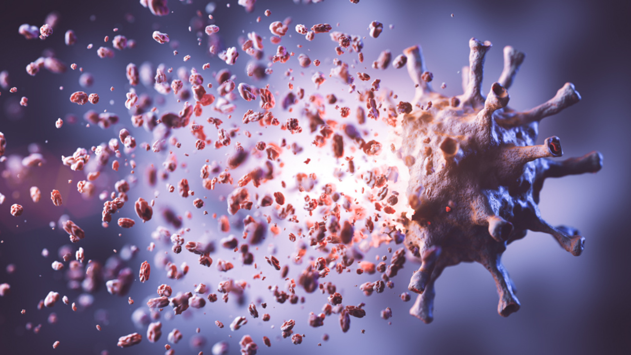 Kill, remove and eliminate coronavirus. Corona virus breaking up into pieces. Inventing effective treatment, vaccine or drug concept. 3D illustration