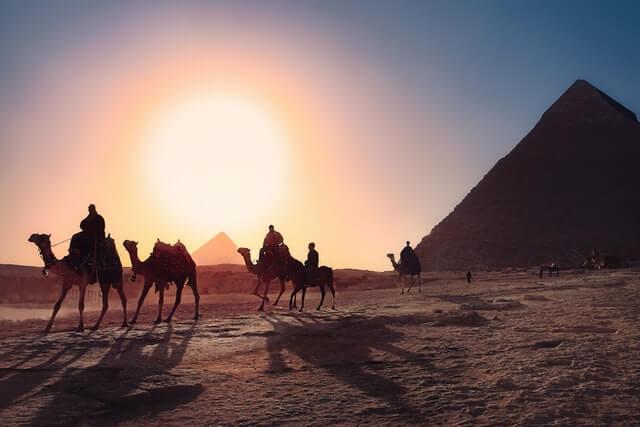 pyramide egypte et chameaux