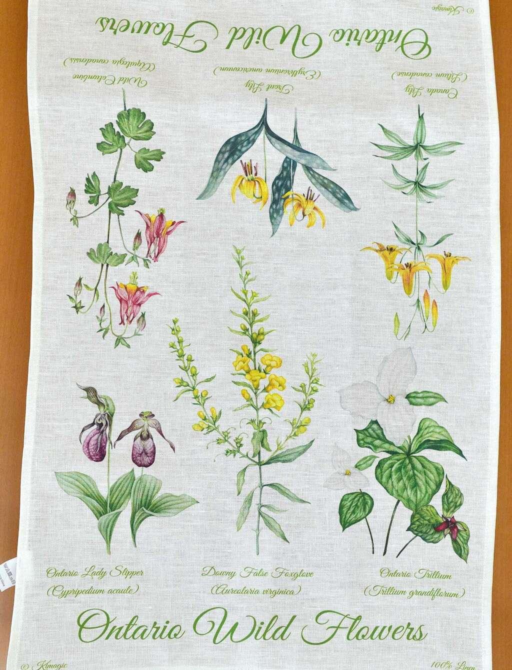 CANADA ONTARIO WILD FLOWERS LINEN TOWEL