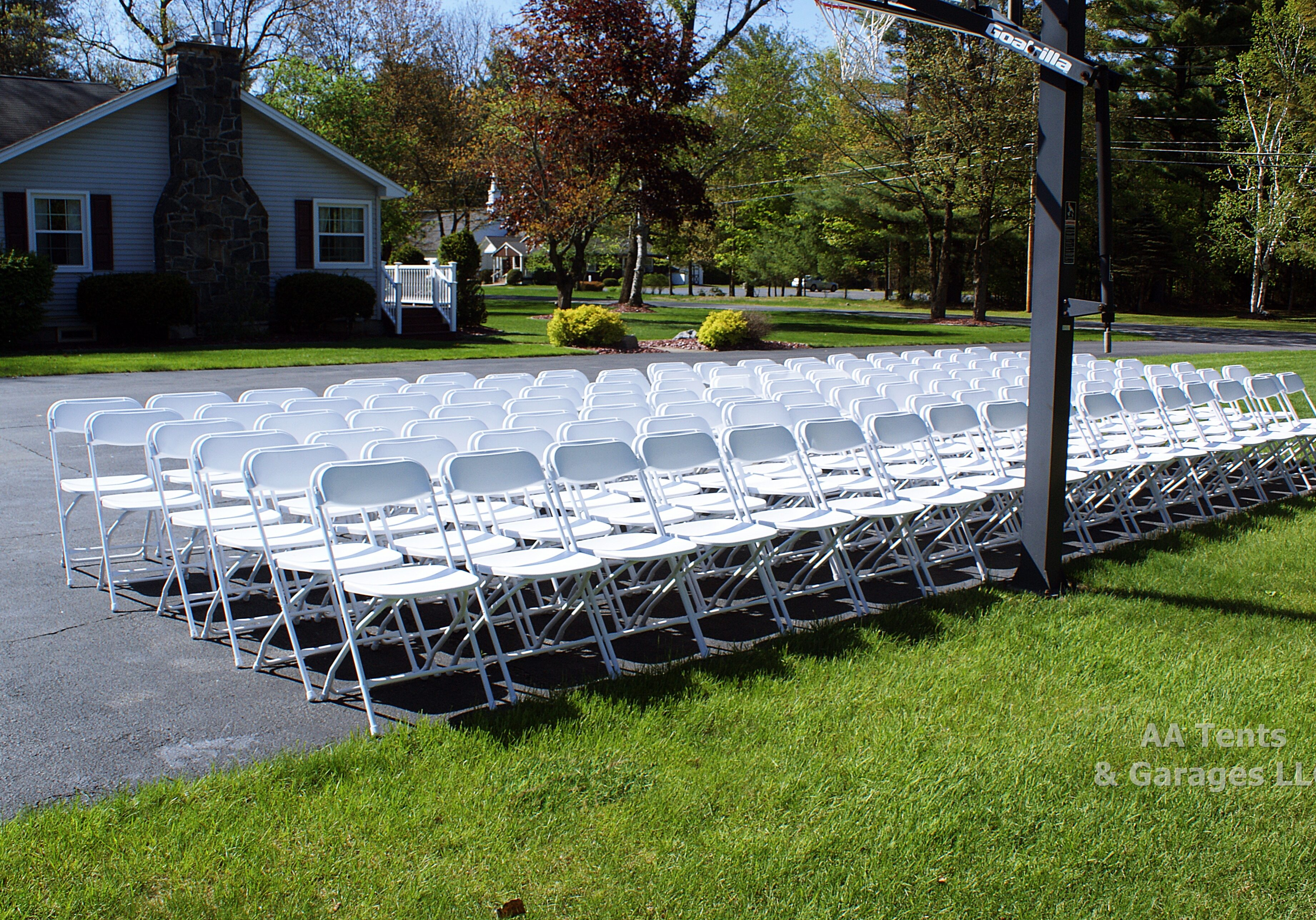 Freshly Painted White Folding Chairs