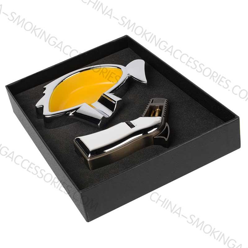 Cigar Gift Set Cigar Ashtray and Lighter Custom colors Z204