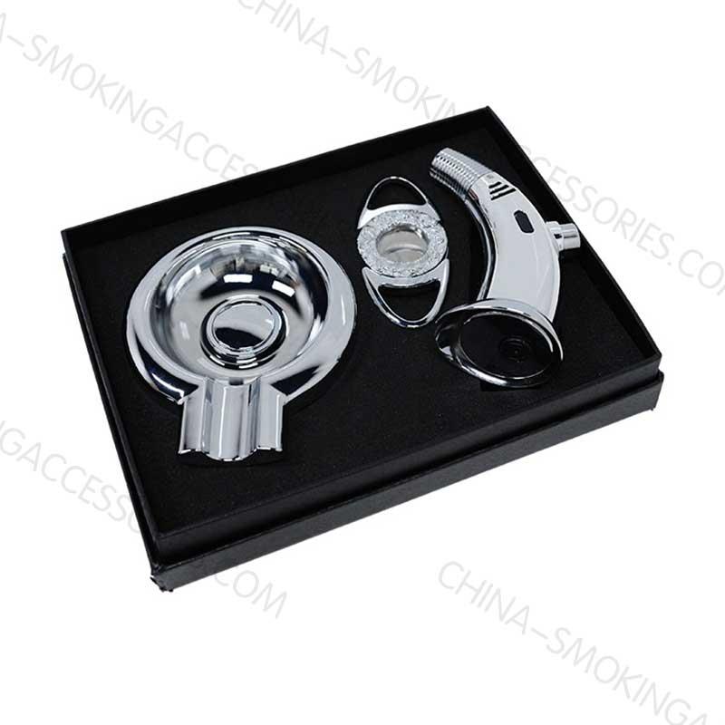customizable cigar lighter & cutter & ashtray gift set