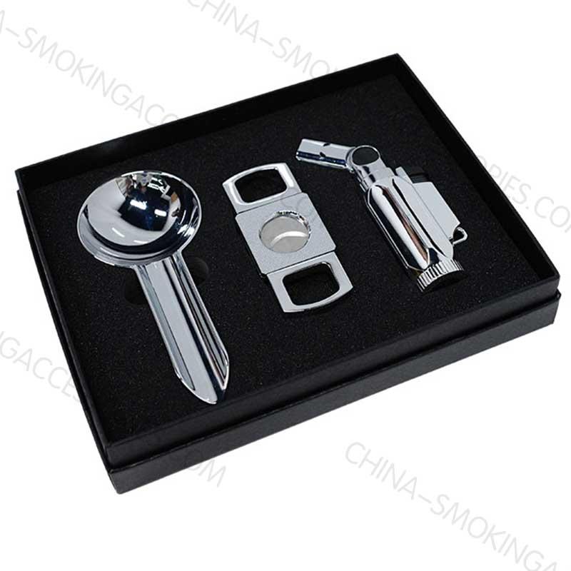 Cigar Gift Set Cutter Lighter Ashtray Z606