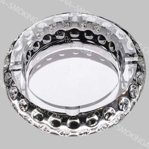 Round Crystal Cigarette Ashtray Glass Custom Logo Transparent Luxury Gift-giving AS548-01