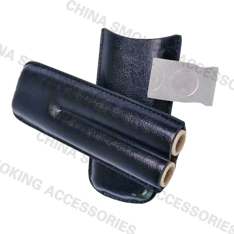 Double Leather Travel Cigar Case Set with Cigar Cutter Pocket KR1003