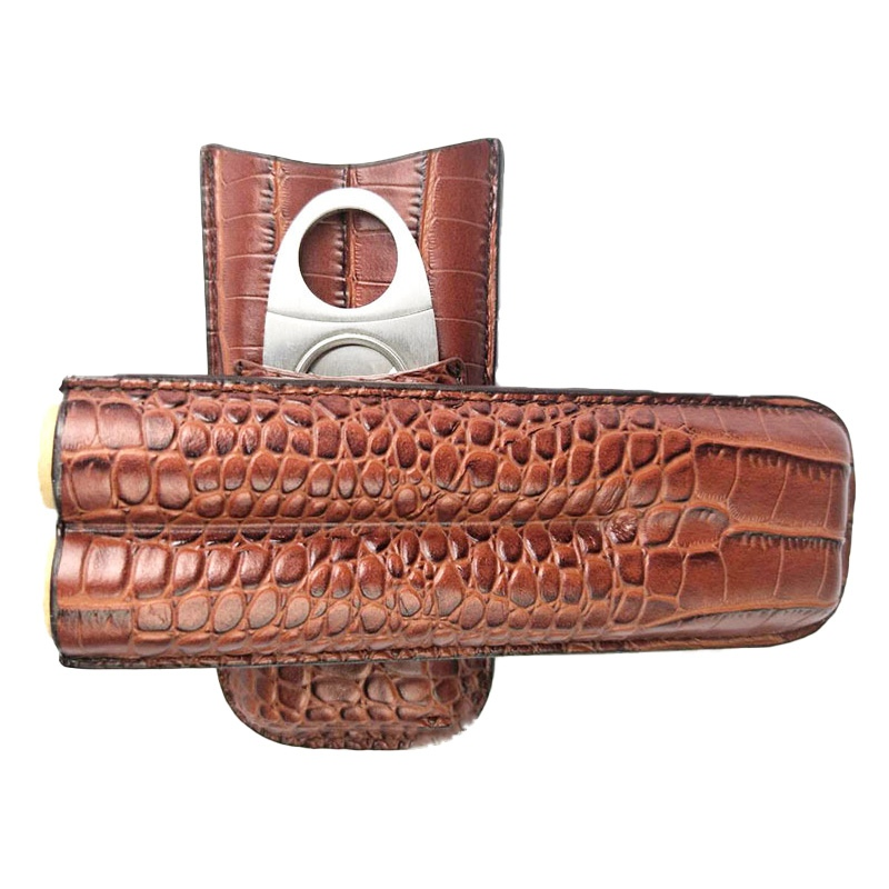 Leather Cigar Case Accessory 2 cigars Capacity and a Pocket for Cigar Cutter KR1001