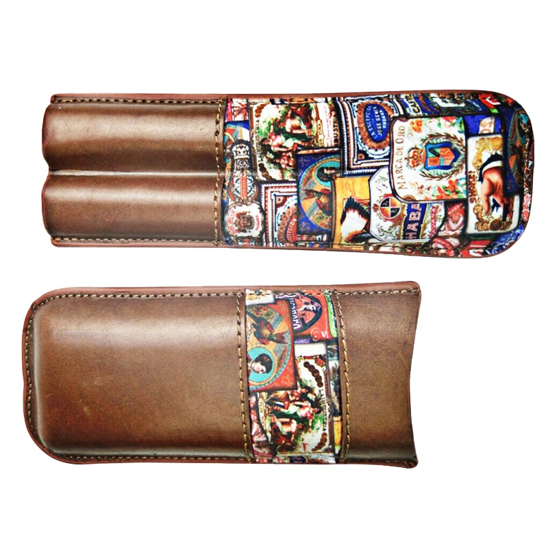Leather Cigar Pouch with a Pocket for Cigar Cutter KR1012
