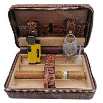 travel leather cigar case box humidor KV7001
