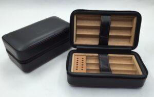 Leather Travel Cigar Humidor Case For 6 Cigar KV7003