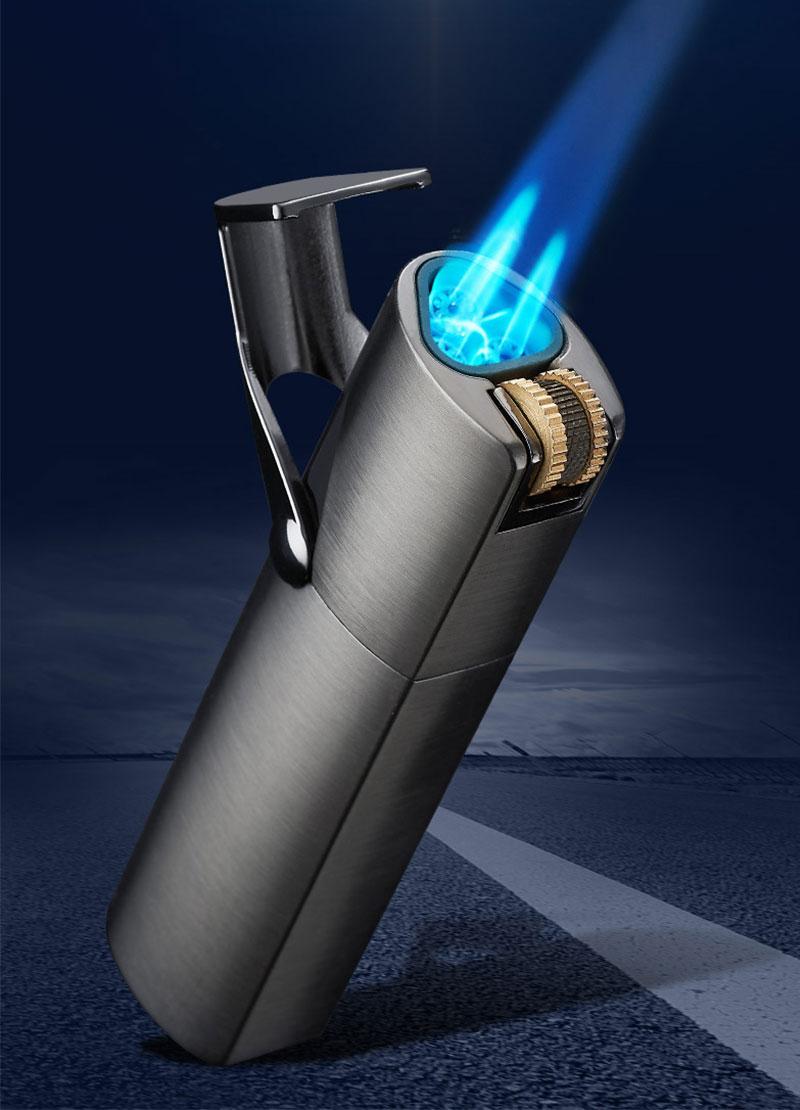 Custom Triple flint torch jet flame Cigar lighter with built in punch cutter LCBP-3054