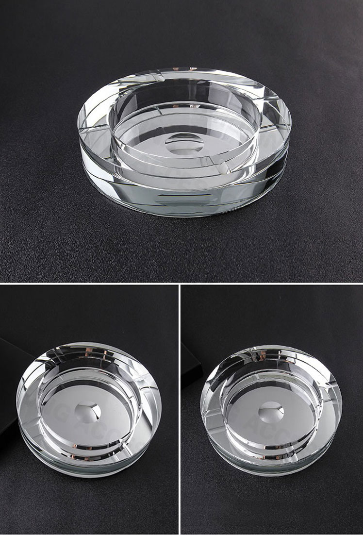 Crystal Glass Cigarette Ashtray Luxury Coated Colour Custom Logo A-S527