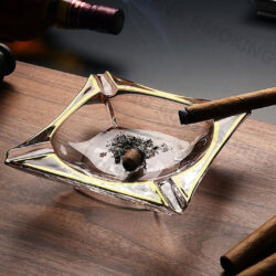 Crystal Glass Cigar Ashtray Large Amber and Transparent Colors with Gold edge Custom Logo A-S526