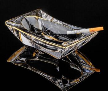Heavy Glass Cigar Ashtray Crystal Clear Cigar Ashtray Gold edge Custom Logo A-S520