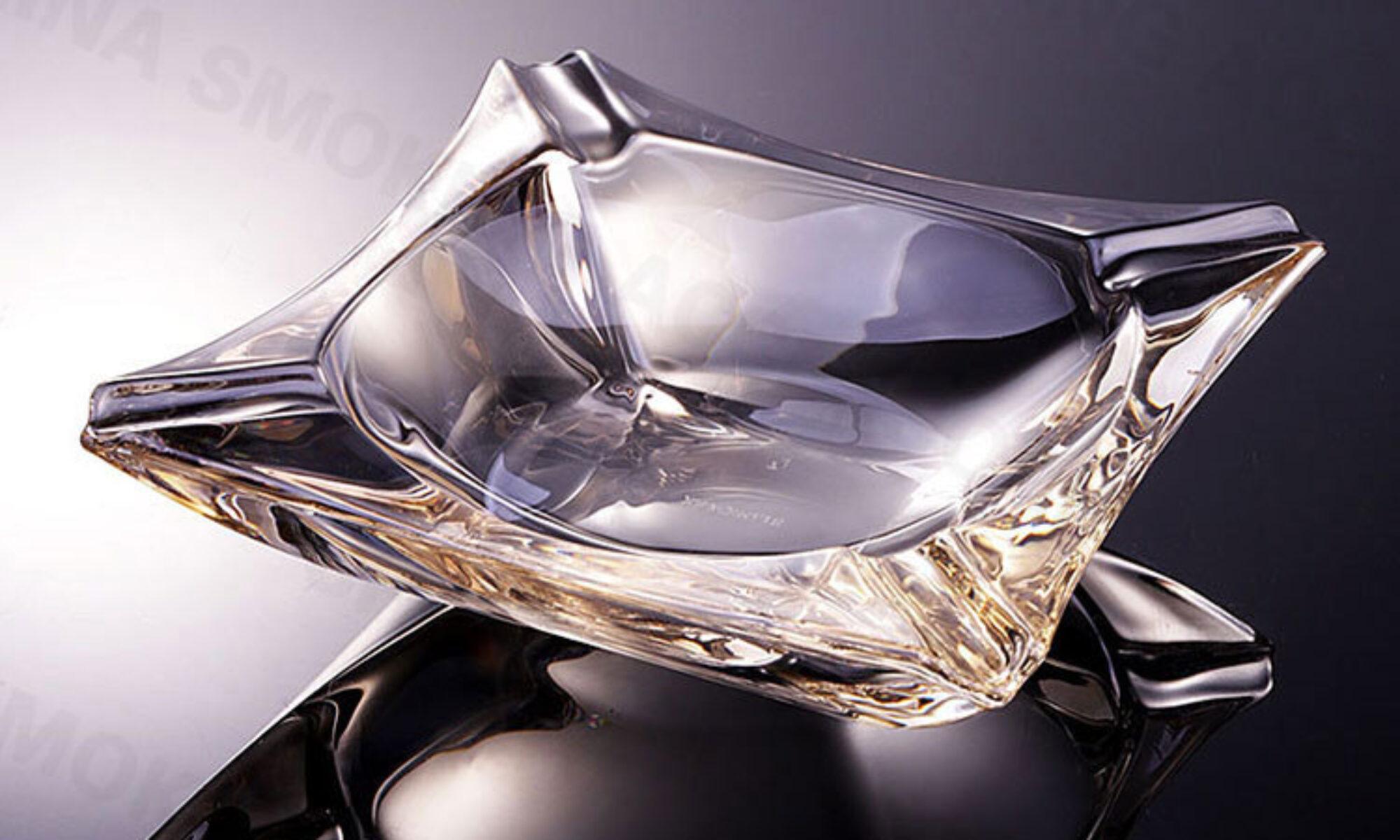 Amber Crystal Glass Cigar Ashtray Gold edge Custom Logo AS523