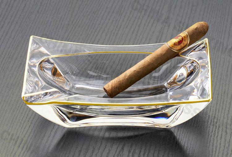 Heavy Glass Cigar Ashtray Crystal Clear Cigar Ashtray Gold edge Custom Logo AS520