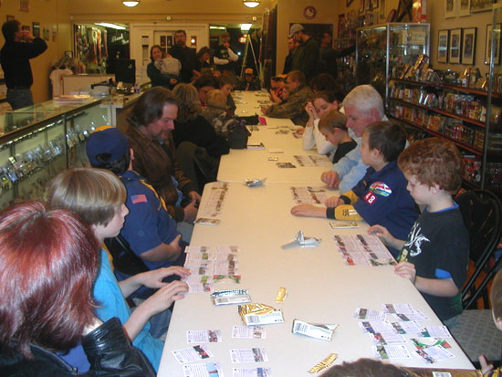 Boy Scouts taking part in a trade night at Fox Sports Cards.