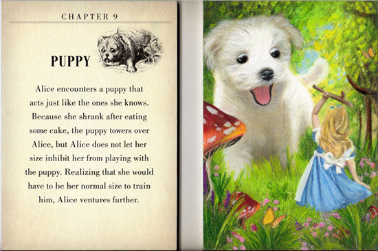 2016-Goodwin-Champions-Artist-Painted-Sketch-Alice-in-Wonderland-Looking-Glass-Upper-Deck-Puppy
