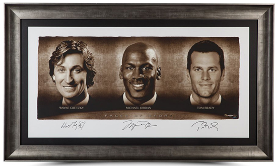 upper deck authenticated triple signed faces of the game gretzky jordan brady