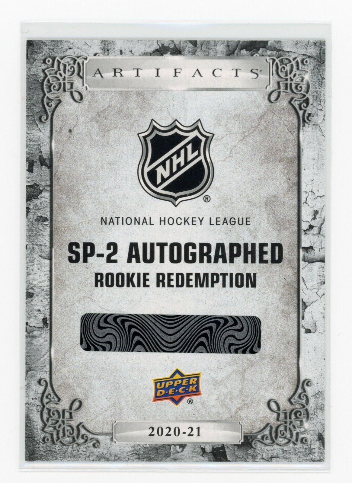 upper deck 2020-21 nhl artifacts rookie redemption hockey cards