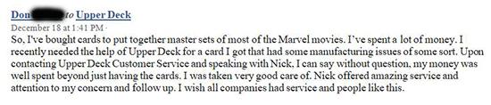 upper deck customer care experience praise