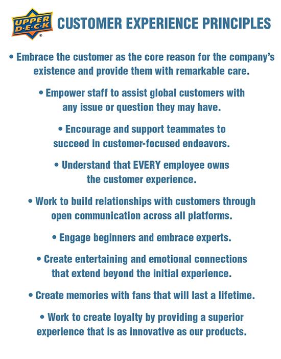 upper deck customer care service experience principles