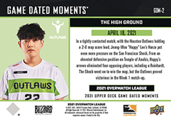 2021 upper deck gamed dated moments overwatch league blizzard pack