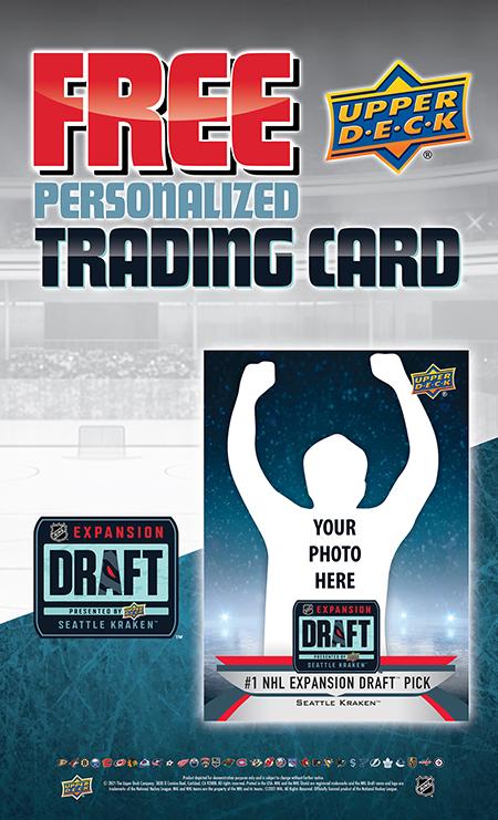 upper deck seattle kraken personalized trading card