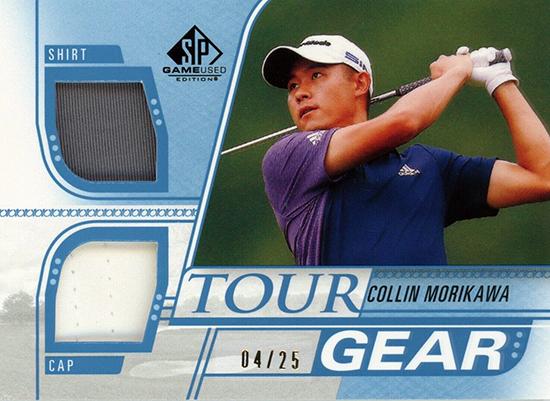 collin morikawa tour gear polo hat memorabilia relic card upper deck sp game used