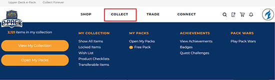 upper deck epack collect tab