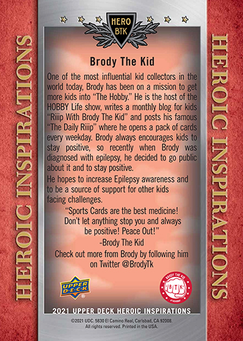 upper deck brody the kid heroic inspirations trading card back