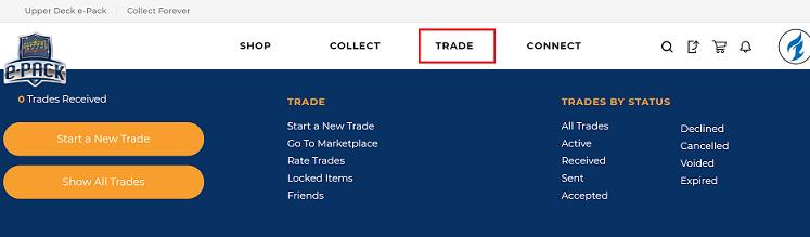 main menu of upper deck e-pack, highlighting the trade tab