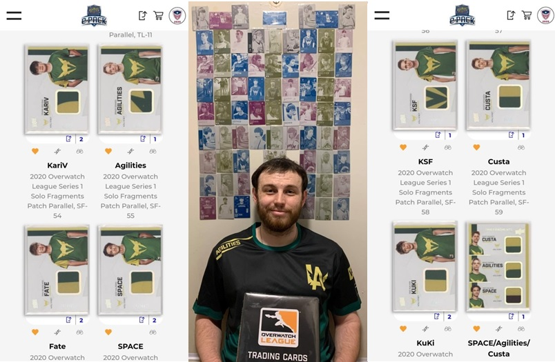 Collector Mason and his Overwatch League trading cards Printing Plate cards, plus some of his Los Angeles Valiant fragment cards