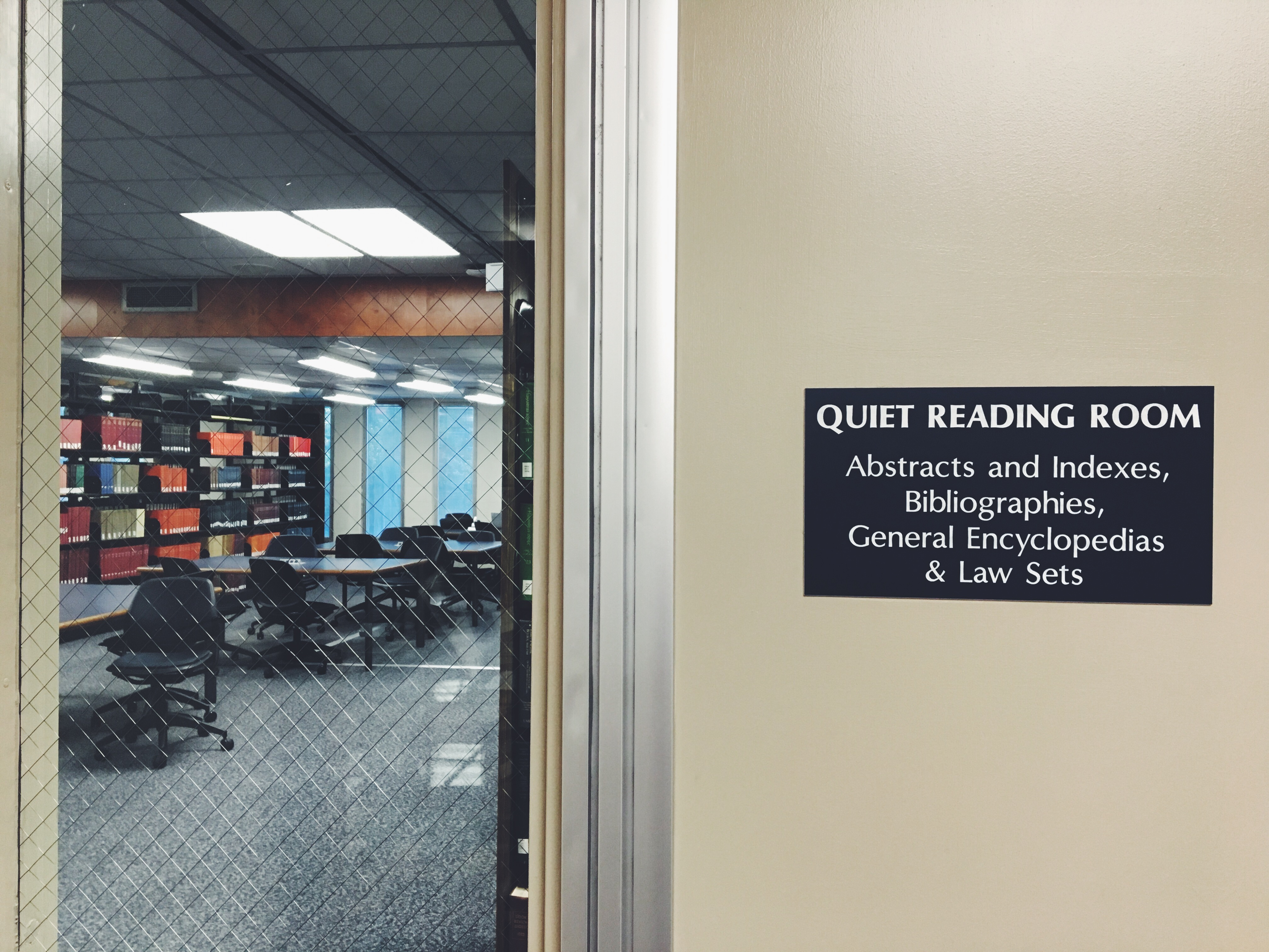 West Chester study spots: the quiet reading room on the second floor of Francis Harvey Green Library