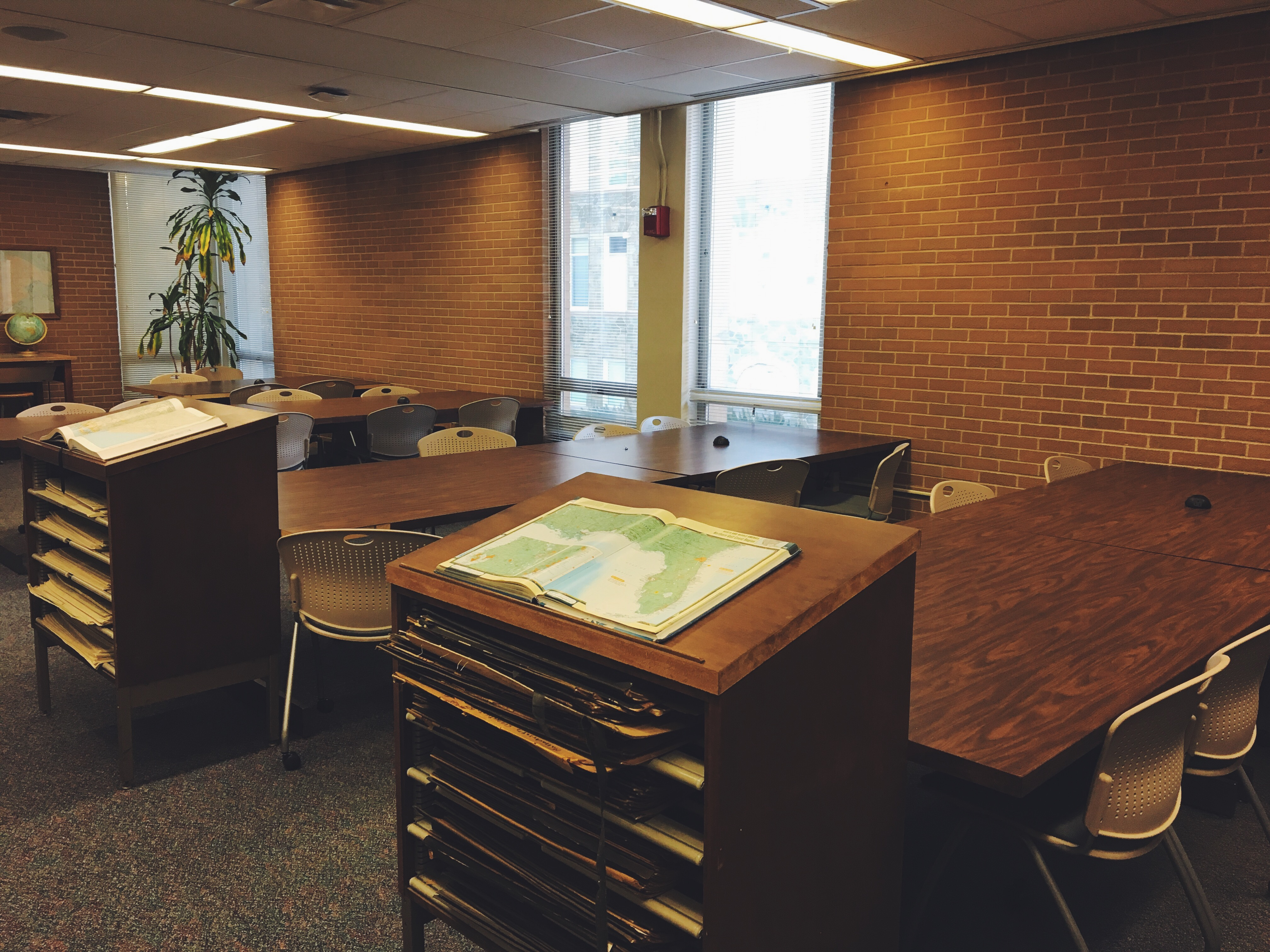 West Chester study spots: the Maps room located on the second floor of Francis Harvey Green Library