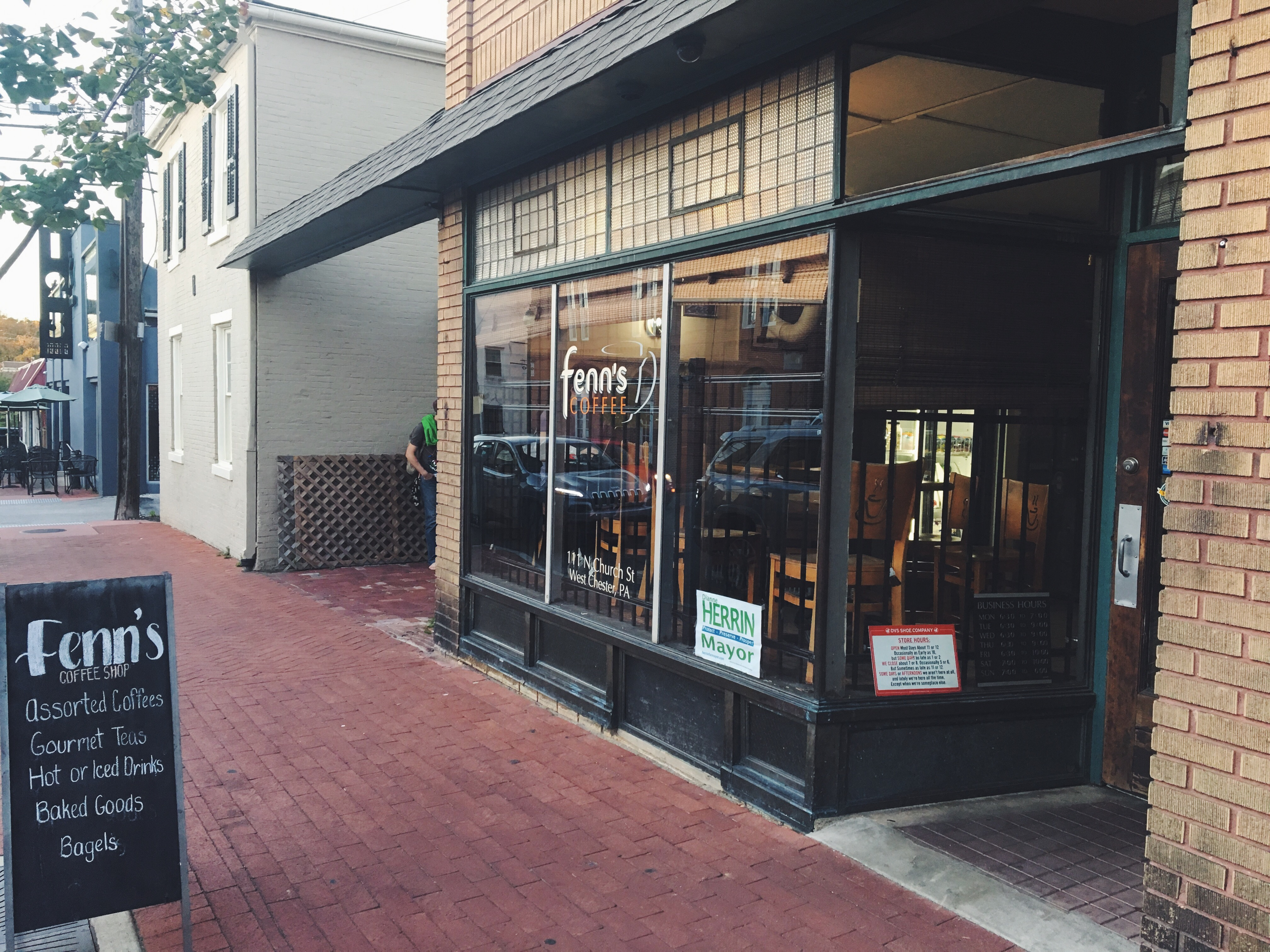 West Chester study spots: The facade of Fenn's coffee, located on Church Street