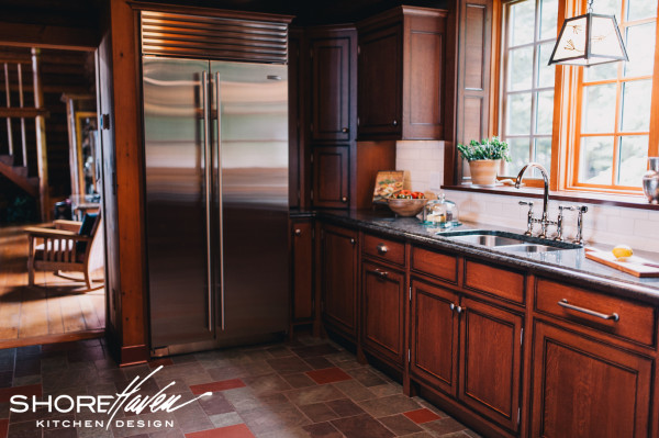 Stainless steel Sub Zero refrigerator adds a professional element to the kitchen.