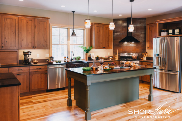 Rustic Alder Kitchen with Painted Greet Center Island