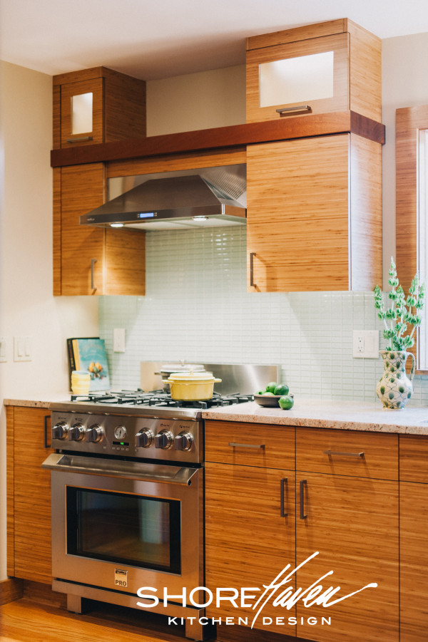 Bamboo Frameless Cabinetry and Sapele Wood Detail