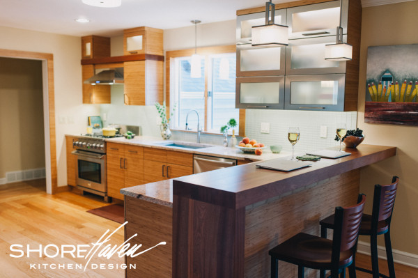 Bamboo and Stainless Steel Cabinetry, Contemporary Kitchen.