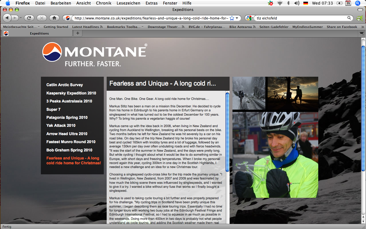 Feature on Montane website
