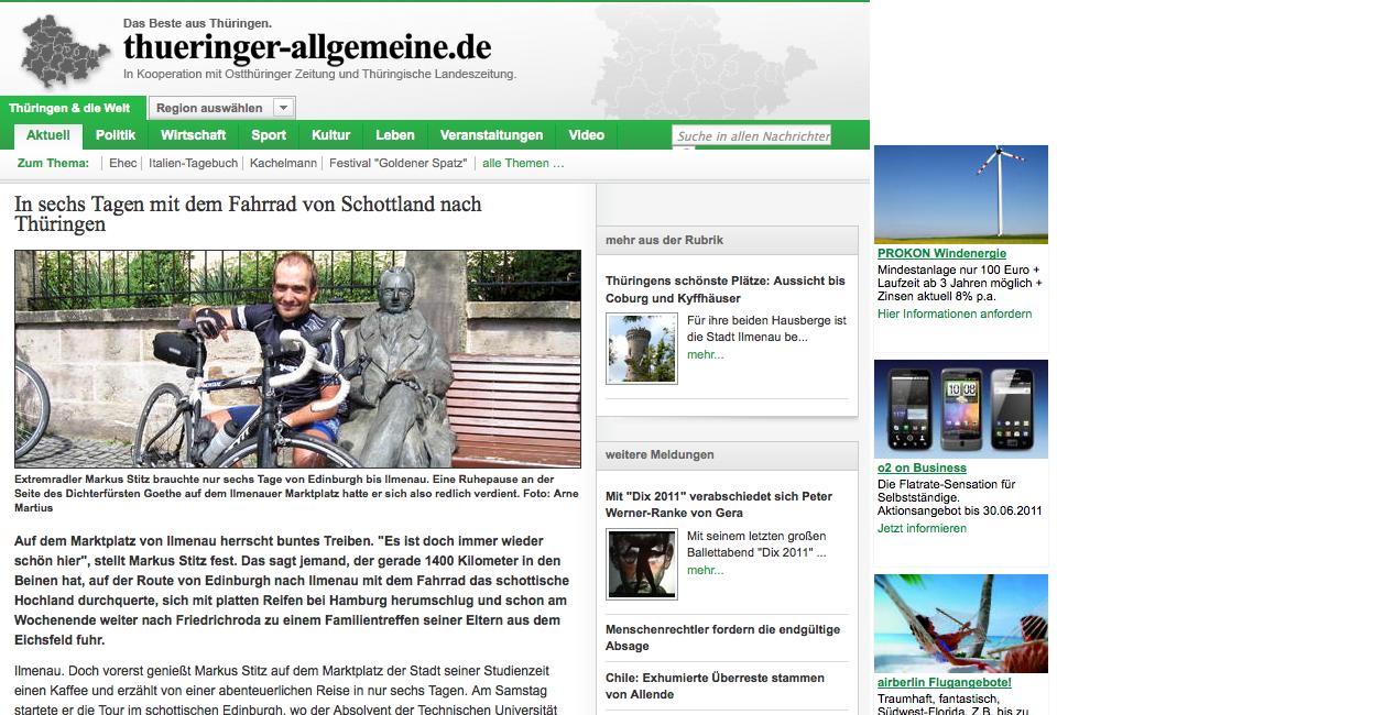 Feature Thüringer Allgemeine 24/05/2011