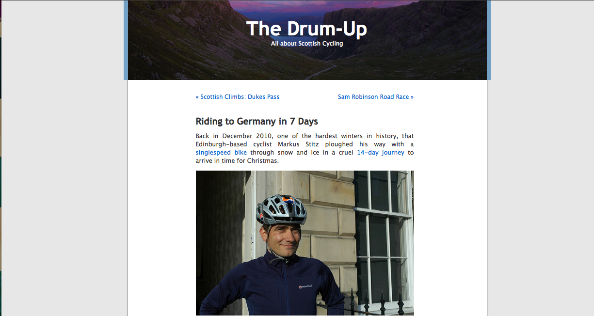 Article Drum Up Cycling Blog 14/05/2011