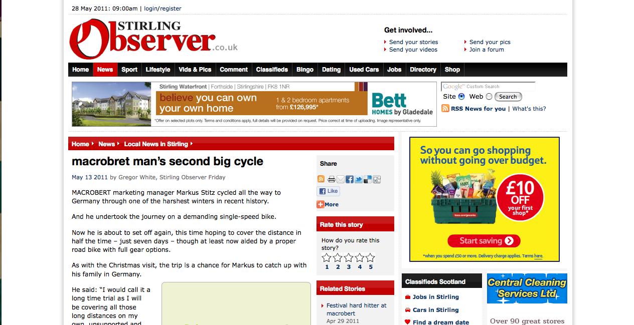 Article Stirling Observer 13/05/2011