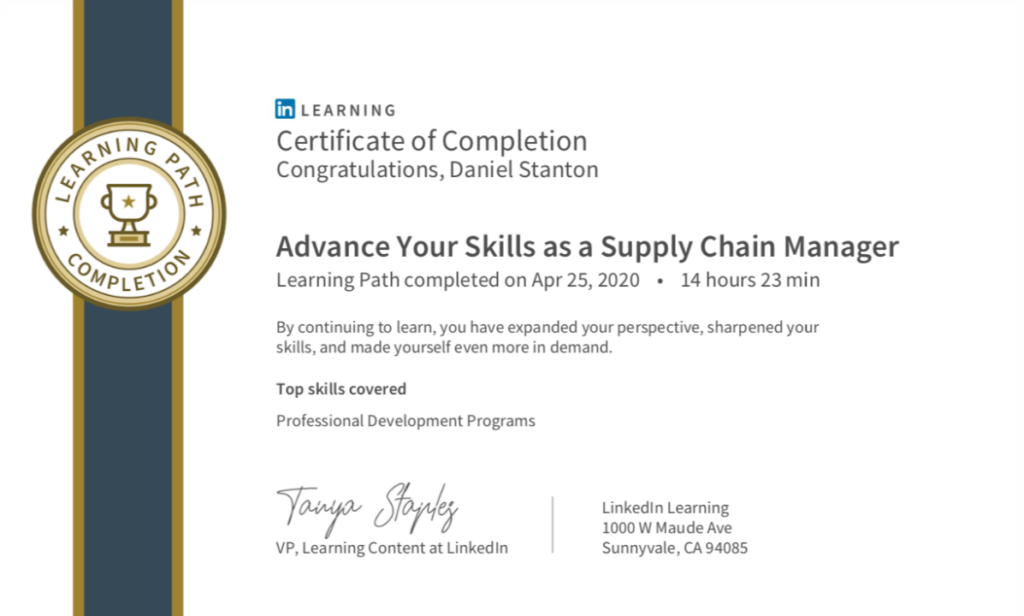 Advance Your Skills as a Supply Chain Manager certificate.