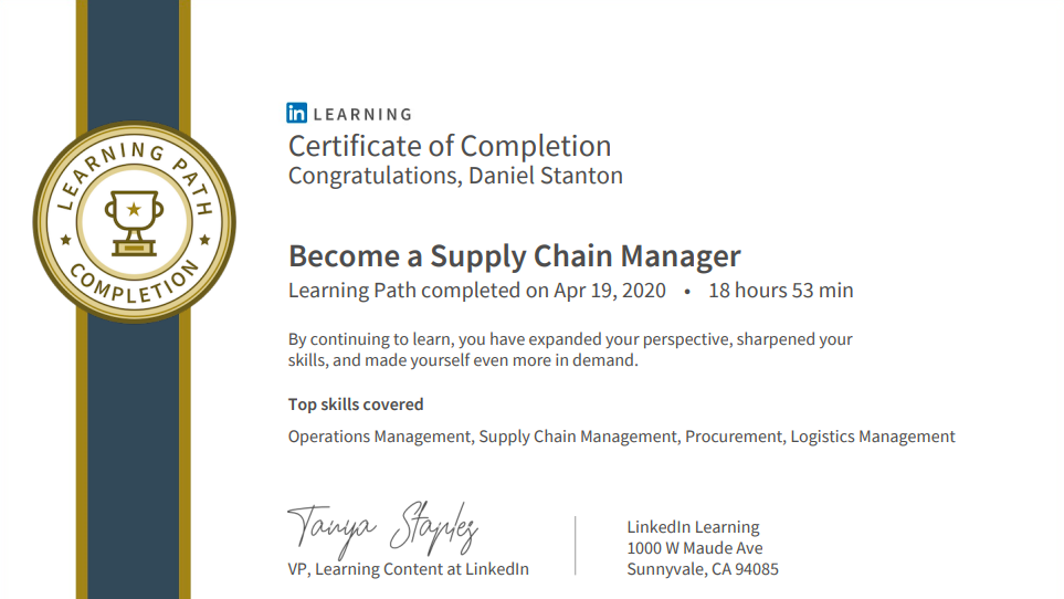 Become a Supply Chain Manager certificate.