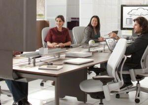 Large Corporation, Steelcase Frame one with Media Scape, Leap Chairs