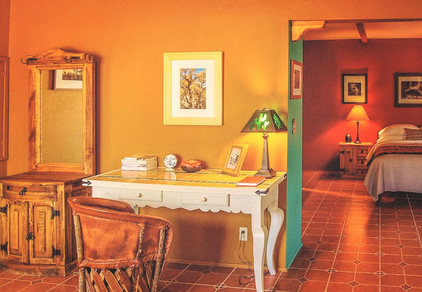 desk and bedroom