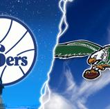 Philadelphia 76'ers and Eagles Lightening Crash Wallpaper