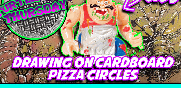 Turtle Soup Thursdays – Drawing Pizza Face on a cardboard pizza circle